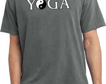 Yoga Clothing For You Mens Shirt Yin Yang Yoga Text Pigment Dyed Tee T-Shirt = PC099-YYTEXT
