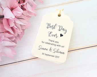 10 Personalised Wedding Favour Tags, Best Day Ever - Thank you for celebrating with us - Scalloped Luggage Tag - White, Ivory Cream, Kraft