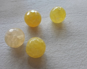 4 yellow round faceted beads, jewelry making