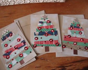 Christmas tree card embellished kraft Christmas paper art card greeting paper scraps