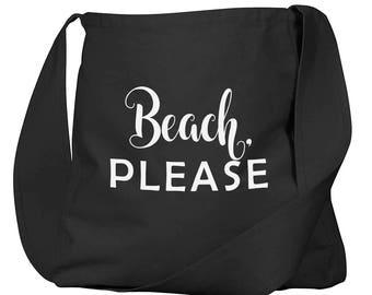 Beach Please Black Organic Cotton Slouch Bag