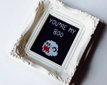 You're My Boo | Super Mario | Nintendo | SNES | Boo | Geek | Fan | Love | Anniversary | Valentines | Wedding | Gift | Framed | Cross Stitch