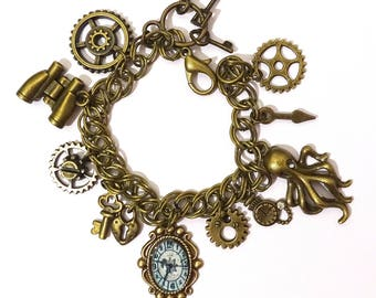 bangle steampunk with gears clock octopus bronze color