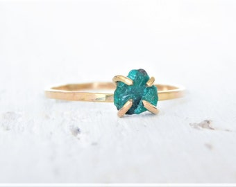 Raw Dioptase Ring, Rough Dioptase Ring, Gold Dioptase Ring, Dainty Crystal Ring, Raw Crystal Ring, Gold Crystal Ring, Raw Stone Ring