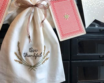 hand embroidery pattern   live thankful    instant digital download