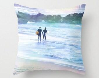 Surfer Throw Pillow Cover, Boys Room, Art Photography, Pacific Ocean Waves, Hang Ten, Blue Water, Relax, Sunshine, Beach Home Decor, Surf