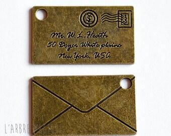 Large pendant envelope brass size 40 x 23 mm