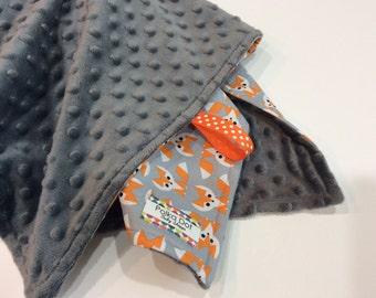 Fox Blanket - Minky Baby Blanket - Gender Neutral Baby Blanket  - Organic Cotton Print -  Minky - Gift Wrapped - Personalized Blanket