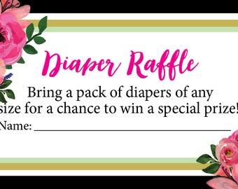 Diaper raffle ticket (Kate Spade inspired) (Digital download)