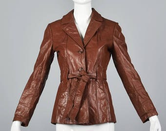XS Warm Boho Jacket Bohemian Winter Jacket Vintage 1970s 70s Leather Belted Blazer Notched Collar Reddish Brown