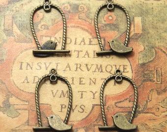 25pcs bird and cage bronze tone Pendant Charm For Jewelry Pendant 32x18mm ASD1093