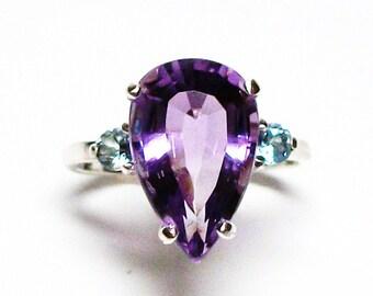 "Amethyst, amethyst accent ring, 3 stone ring, amethyst aqua, amethyst ring, blue purple,  s 6 3/4 ""Center Stage"""