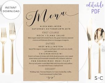 Rustic Wedding Menu Template, Printable Menu, Instant Download, Editable Menu, Wedding Menu Cards, Dinner Menu, DIY Menu Template