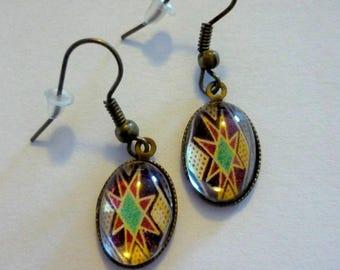 Metal cabochon glass 18x13mm egg earrings