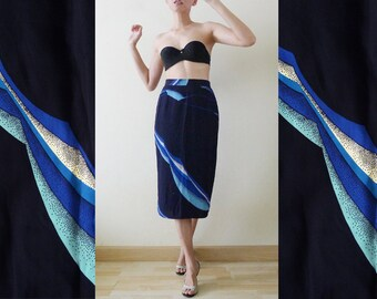 60s Navy High Waist Vintage Japanese Skirt, midi skirt, Abstract prints, illusion Op art summer skirt, Hawaiian, beach, A Piece Of Art, XS-S