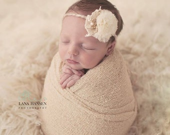 Newborn Headband. Baby Flower Headband. Boho Headband. Halo Headband.Headband Photo Prop