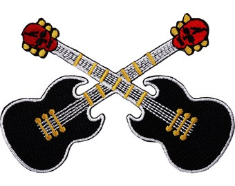 Black Electric Cross Guitars Embroidered Iron / Sew On Patch Guitar Skull Badge