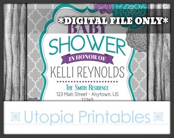 Teal Purple Floral Baby Shower Invitation Floral Flowers Theme Modern Digital Printable Customized 5x7 Gray Grey White Turquoise DIY Party