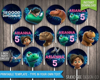 The Good Dinosaur Party Circles - INSTANT DOWNLOAD - Printable 2 Inch Party Circles - Cupcake Toppers -DIY Personalize & Print (GDpc04)