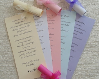 Baby Shower Thank You Scroll Cards - Favour - Personalised