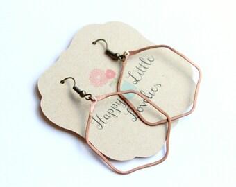 Copper hexagon hoop earrings