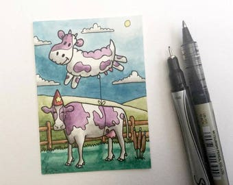 Cow balloon hills barn animal miniature art ATC Gift Art Trading Card Whimsical - Original ART ACEO Watercolor - Katie Hone