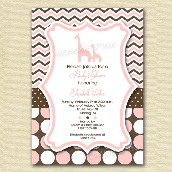 Giraffe Baby Shower Invitation Giraffe Shower Invitation
