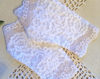 White with Gold Stretch Lace Gloves , Wedding gloves. Stretch lace, Fingerless lace gloves, Bride, Bridesmaid, Gift for her.  Ready to ship.