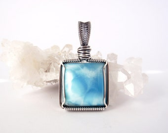 Larimar Pendant ~ Handcrafted with Eco-Recycled Sterling Silver ~ Blue Pectolite ~ Dolphin Stone ~ Tranquil Crystal ~ Talisman of Serenity