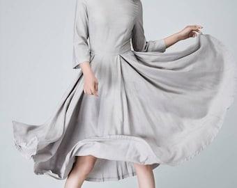 Linen dress, tea length dress, light grey dress, midi dress, womens dresses, prom dress, wedding dress, bateau dress, made to order 1462