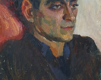 Portrait Man original oil painting, oil portrait paintings, Ukrainian artist Bondarenko S. Port-30.5-21 km. 70е 0,1