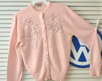 Vintage 50's 60s Button Front Pink Sweater Girls Teens Small Beaded  Lampl Du Pont Orlon Sock Hop Doo Wop Costume Distressed as is
