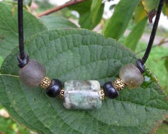 Washington River Grossular Garnet and African Sea Glass Necklace