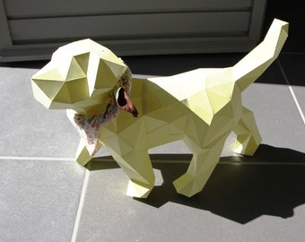 DIY kit PUPPY / Dog paper Sculpture, animal faux taxidermy handcraft decoration.