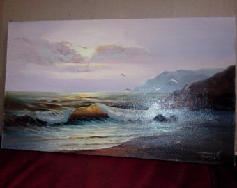 "Original oil painting: landscape ""Warm evening"", canvas, varnish"