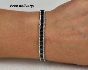 loom bracelet, boho bracelet, beadwoven bracelet set in gun metall and silver