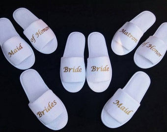 Bride Slippers - Bridesmaid Slippers - Personalized Slippers  - Slippers- Wedding Slippers - Bridal Slippers - Bridesmaid Gift