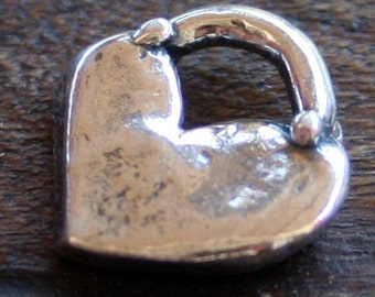 Heart Charm Little Rounded Sterling Silver  CH22