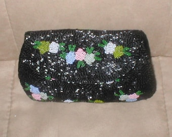 Vintage Floral Beaded Evening Bag Clutch Purse