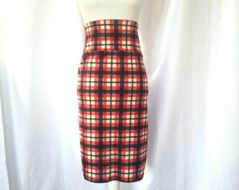 90s Vintage Size L High-Waisted Plaid Wiggle Skirt - Stretchy Polyester/Spandex Blend - Pencil Skirt by Brick Bungalow - Red, Navy Blue