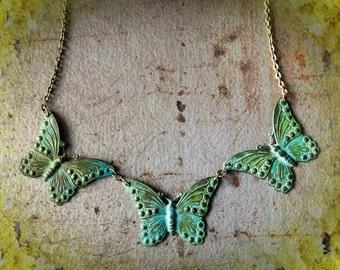 Three Monarchs - Verdigris Patina Butterfly Bib Necklace, Spring Summer Garden Metamorphosis Caterpillar Moth Rebirth Regeneration Flowers