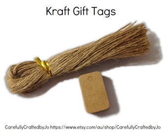25, 50,100,150 Extra Small Kraft Rectangle Gift Tags Die Cut & Twines DIY Gift Tags - wedding, favours,gift tags,goodie bag tags, price tags