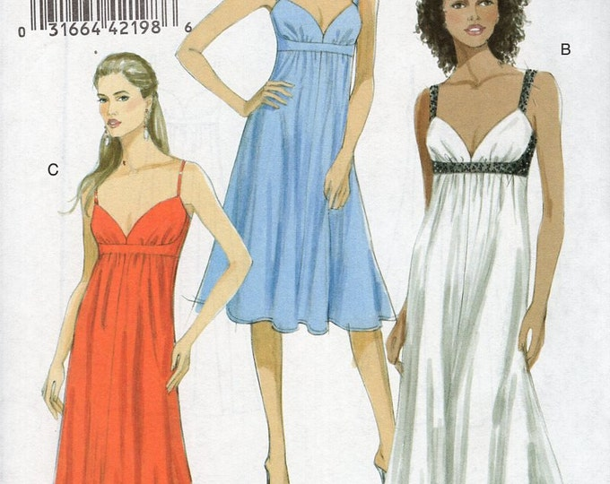 Vogue 8475 Free Us Ship Dress Cocktail Evening Length Sewing Pattern 6/12  14/20 Bust 30 32 32 34 36 38 40 42 2008 Out of print
