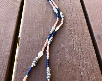 Lapis, Spotted Jasper, Silverite beaded Necklace