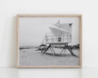 Lifeguard Station number 2 ART PRINT | Monica Beach Poster art | Beach black and white wall art California Design Beach Eclectic Decor