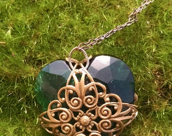 Teal and brass heart
