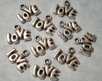 25 Love Charms - 13 x 9mm Word Charms