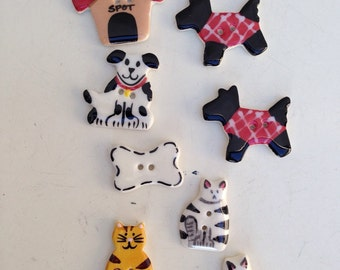 """Vintage house pets theme ceramic 8 buttons dogs  cats house 1"""""""