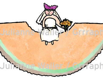 People with Food:  Cantelope Fruit clipart