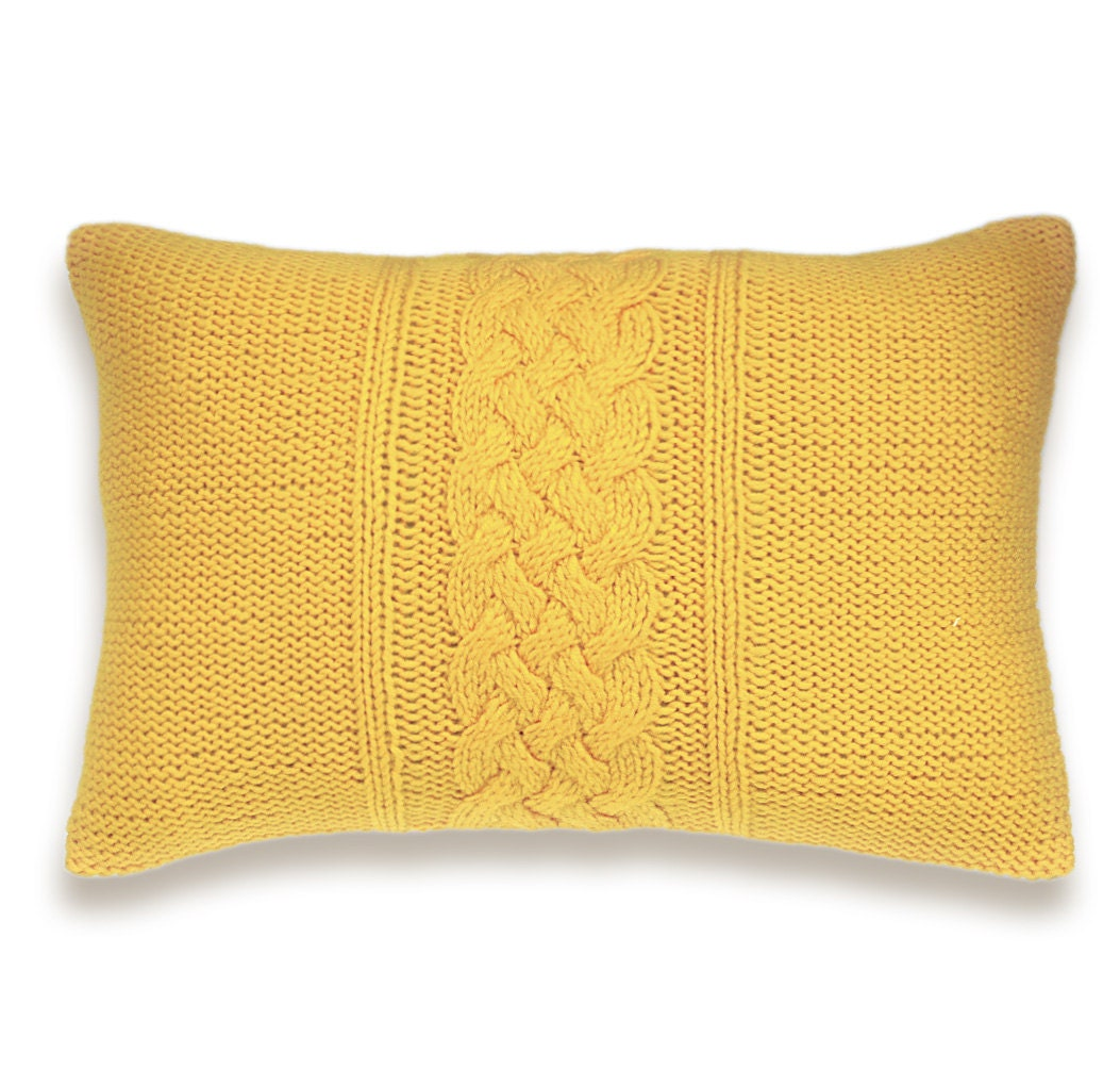 Decorative Cable Knit Pillow Cover In Yellow 15x15 inch Wool